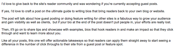 Guest Blogging Pitch Example